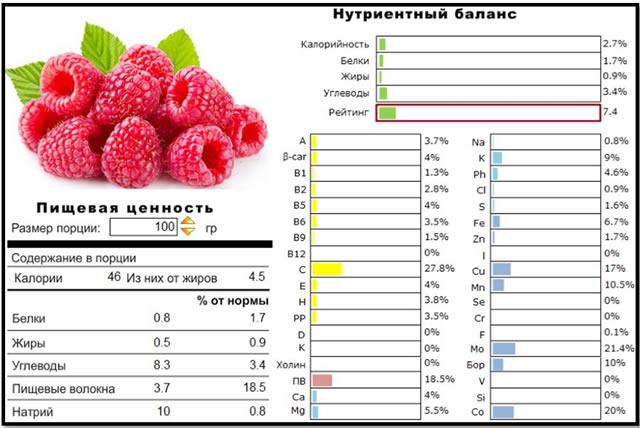 Состав плодов малины Евразия